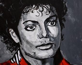 Pop art portrait of Michael Jackson hand-painted