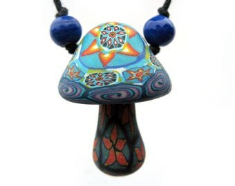 Mushroom pendant, tribal style millefiori starburst patterns and spirals, handmade from polymer clay, mushroom necklace, one of a kind