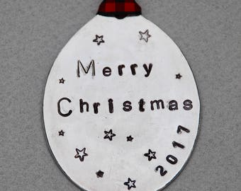 Merry Christmas 2017 ORNAMENT // Stamped Spoon with Stars // Red and Black checked Ribbon
