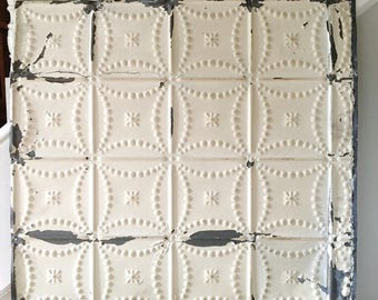 Vintage Ceiling Tile Large White Cream Chippy Wall Hanging