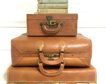 Vintage Leather Suitcase Luggage Antique Suitcase