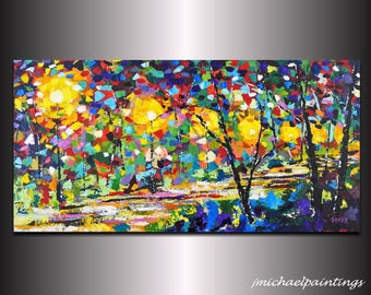 Large Abstract Landscape Acrylic Park Path at Night Painting Modern Impressionist Contemporary Colorful Wall Decor Canvas Art 24x48 JMichael
