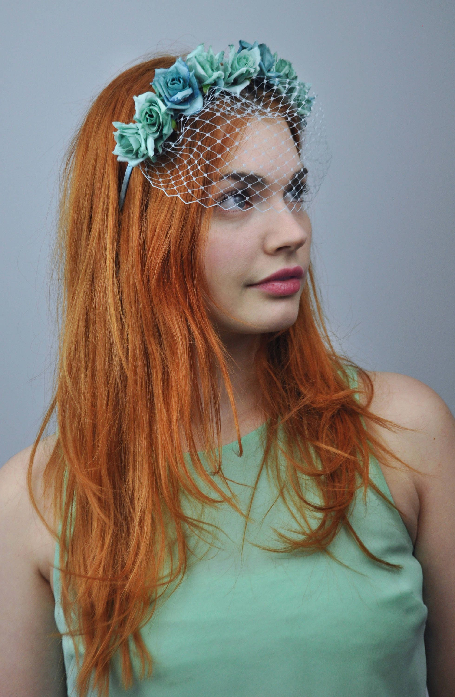 Chloe Bridal Blue Rose Headband with Birdcage Net Veil