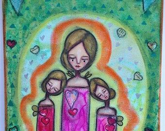 A Trio of Aura Angels Art Work. Mixed media artwork. Original Art for Sale, Original Art Work, Fine Art, Original Painting, Gift Women