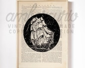 Star Ships, Black and White, Nautical Inspired Print on an Antique, Up-Cycled Book Page, Unframed