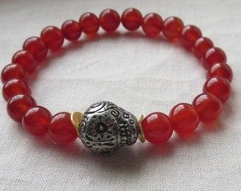 AAA Carnelian Sugar Skull Stretch Bracelet