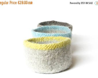 ON SALE WOOLY Felted Bowls - three felted bowls - ash grey with colored rims 11