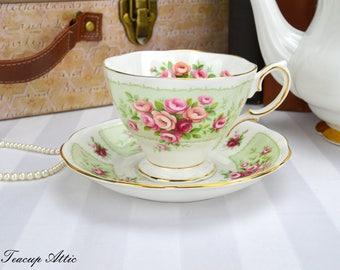 Royal Albert Rosedale Series Trent Teacup and Saucer Set, English Vintage Bone China Tea Cup Set, Replacement China,  ca. 1960
