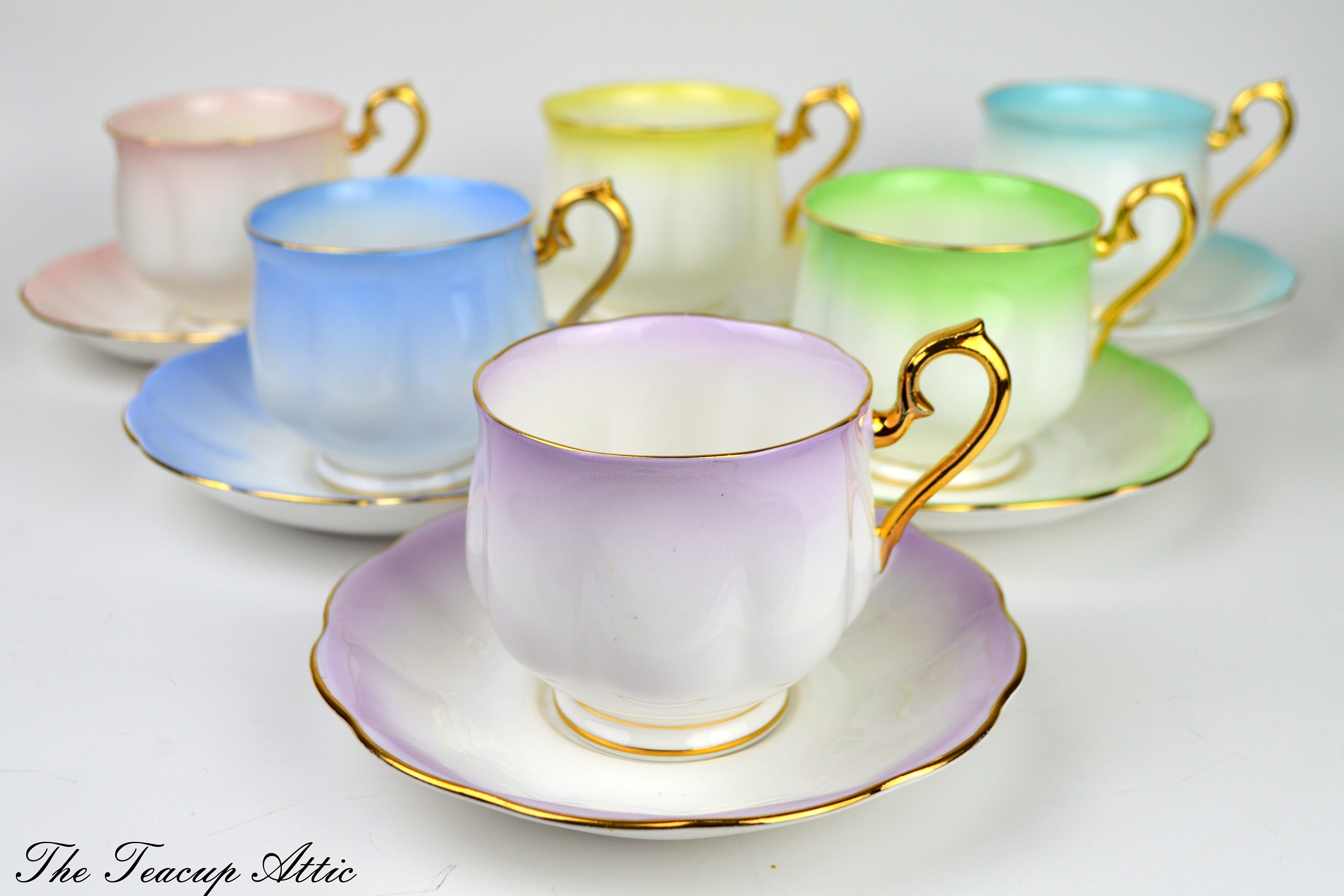 Royal Albert Complete Set of Hampton Shaped Pastel Rainbow Teacups And Saucers, English Bone China Tea Party, ca. 1950