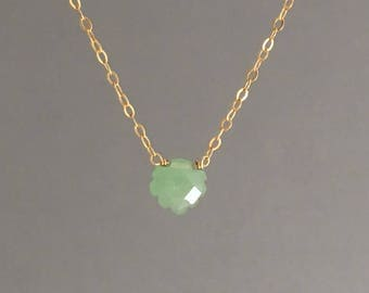 Green Aventurine Leaf Necklace available in gold, rose gold, or silver