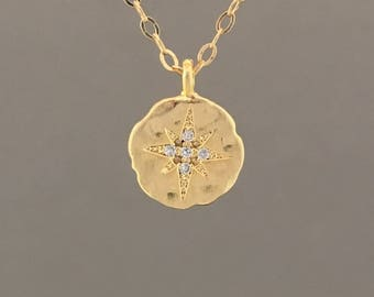 Swarovski Crystal Compass Pendant Gold Necklace Also Available in Silver and Rose Gold