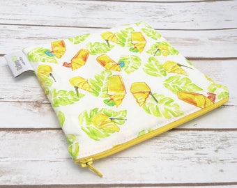 Reusable Snack Bag ~ Sandwich Size ~ Reusable Lunch Bag ~ Eco Friendly ~ Water Resistant ~ Zipper Pouch in Pineapple Whip Watercolor