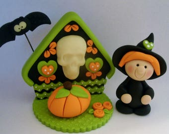Witch - Glow in the Dark Skull - Bat - Pumpkin - Polymer Clay - Halloween - Figurine