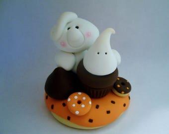 Ghost and Halloween Sweets - Polymer Clay - Halloween - Figurine
