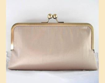 Wedding clutch bag, taupe clutch, silk purse, bridal purse, bridesmaid clutch, personalised purse
