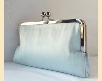 Wedding clutch, blue silk purse, handmade bridal purse, blue bridesmaids clutch, bridesmaids purse, personalisation