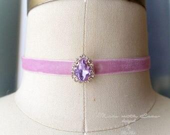 Victorian Choker Necklace,Lavender purple rhinestone, skinny lilac Velvet ,luxury style Jewelry Handmade , Gothic goth Gypsy Great Gatsby