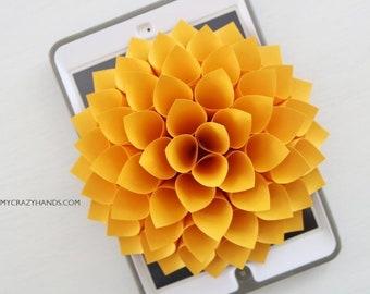 paper dahlia || 7'' nursery wall decor | bridal shower backdrop | wedding flower || origami gift | baby shower backdrop -golden yellow