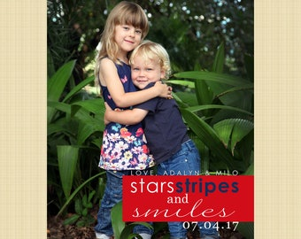 4th of July photo card - Independence Day greetings card (stars stripes and smiles)