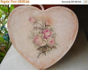 3 day SUMMER SALE 15% OFF shabby pink,hanging wooden heart with Vintage roses on one side,French style wedding or home decor