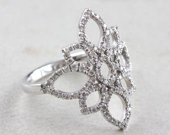 Lotus Diamond Ring, Unique Engagement Ring, 14K White Gold Ring, Pave Diamond Ring, Cluster Ring, Flower Ring, Vintage Rings  14K White Gold