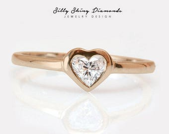 Rose Gold Engagement Ring, Bezel Set Ring, Solitaire Ring, 0.30 CT Heart Diamond Ring, Delicate Ring, 14K Rose Gold Ring
