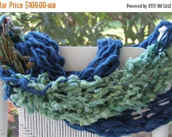 XMAS IN JULY up to 50%off Hand Knit Bulky Super Sized Infinity Scarf in Blue and Multi Color, Super Soft Handspun Wool Yarn, wonderful Prese