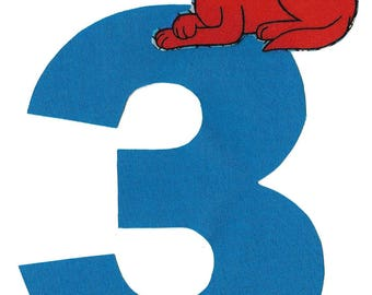 DIY iron on number applique pick any number plus Clifford the big Red Dog - birthday, anytime