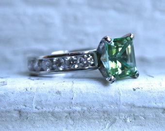 Vintage Platinum Diamond and Green Tourmaline Chanel Ring Engagement Ring  - 4.02ct.
