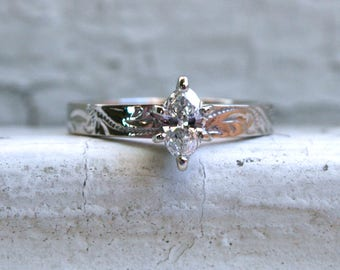 Lovely Vintage 14K White Gold Etched Marquise Diamond Engagement Ring - 0.25ct.