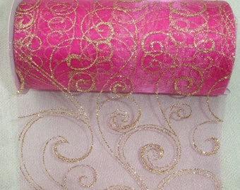 Extra Wide Pink Swirl Ribbon - 6 inch
