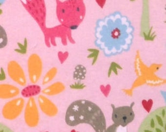 Snuggle Flannel Fabric - Woodland Friends Garden on Pink - 35 inches