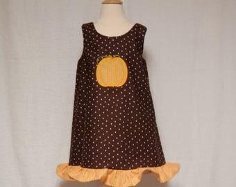 Thanksgiving dress,toddler dress,applique dress,fall dress,polka dot dress,holiday dress,kids clothing