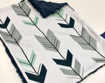 Navy Blue, Mint and Grey Arrows Baby Boy MINKY Lovey Blanket, MINI Minky Baby Boy Blanket, Taggie Blanket, Woodland Baby Blanket