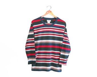 vintage t shirt / striped t shirt / 90s long sleeve / 1990s multi striped long sleeve t shirt Small