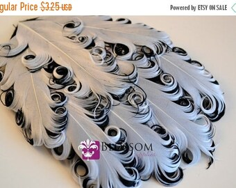 ON SALE 1 Curly Nagorie Feather Pads - Goose Feather Pad - White on Black - DIY Headband Hair clip Hat Newborn Photo Prop - Wedding Supplies