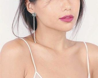 ON SALE Delicate crystal gem coconut tree earrings - tropical jewelry - summer jewelry