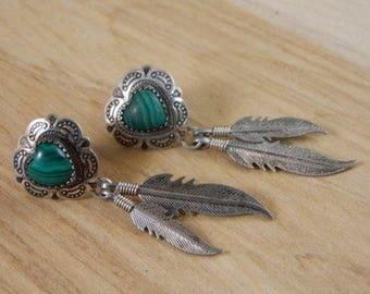 Malachite Heart Earrings / Vintage Native American Post Earrings / Indian Feather Green Malachite Dangle 70s Earrings