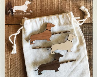 Doxie. Hairpins -- (Dachshund, Vintage-Style, Sausage Dog, Wiener Dog, Choose Your Color, Wood, Bobby Pin, Christmas Gift, Stocking Stuffer)