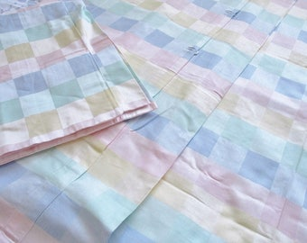 """DUVET COVER and sham, twin size 54"""" x 76"""" in pinks, yellows, greens and blues, checkered cotton sateen cover, new condition never used"""
