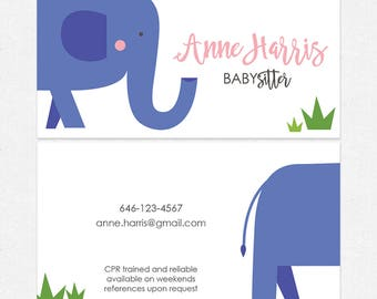 babysitter nanny business cards - thick, color both sides - FREE UPS ground shipping