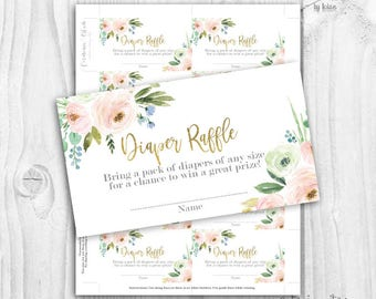 floral blush and gold Diaper Raffle cards, boho floral diaper raffle cards, rustic baby shower girl diaper raffle cards, neutral colors