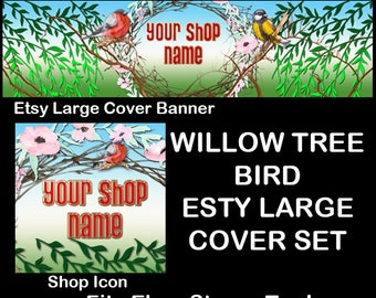 WILLOW TREE BIRD Etsy Large Cover Banner Set/Premade Etsy Banner/Willow Tree Shop Etsy Banner,Bird Etsy Large Cover, Etsy Banner, Ebay