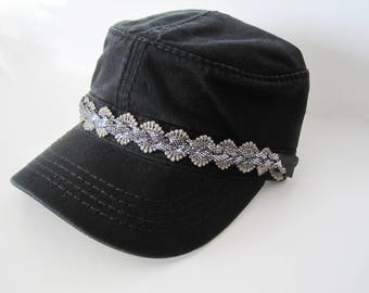 Black Cadet Army Hat with a Band of Gorgeous Grey Lace and Grey Braided Sparkle Band Cadet Hats Accessories