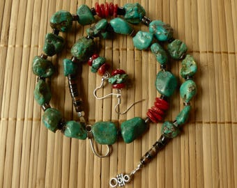 20 Inch Rustic Green Turquoise Pebble and Red Coral Necklace with Earrings