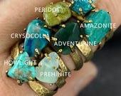 AQUA, BLUE GREEN Gemstone Stacking Rings, Hammered Brass Ring - Solid Metal adjustable band