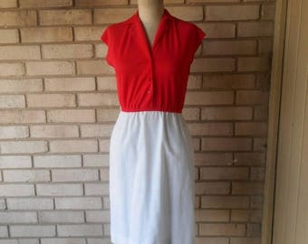 Vintage 1970s Red and White Day Dress Size Small XS