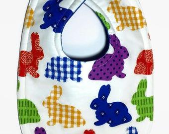 Easter Bunny Baby Bib - Rabbit Bib - Baby Girl Bib - Boy Bib - Dribble Bib - Baby's First Easter Bib - Gender Neutral Baby - Easter Baby