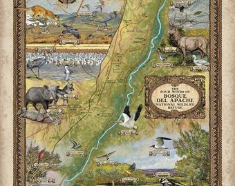 290-Bosque Del Apache National Wilderness Refuge vintage historic antique map poster print by Lisa Middleton