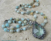 Sea Mist  -Victorian Crystal and Amazonite Necklace - Long Hand Knotted Necklace Boho Glam - Neutrals